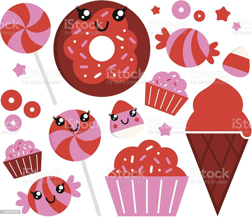 Cute strawberry candy set - red and pink royalty-free stock vector art