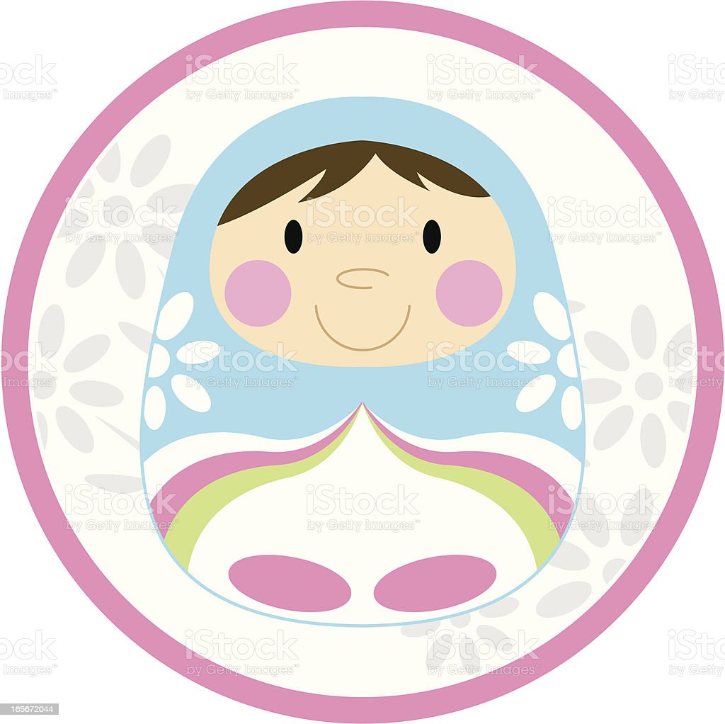 Cute Striped Russian Doll royalty-free stock vector art