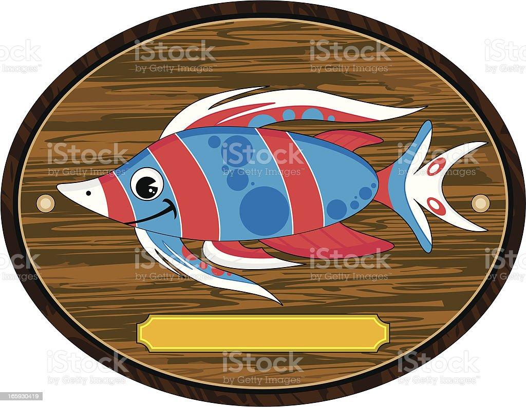 Cute Striped Tropical Fish Trophy Mount royalty-free stock vector art