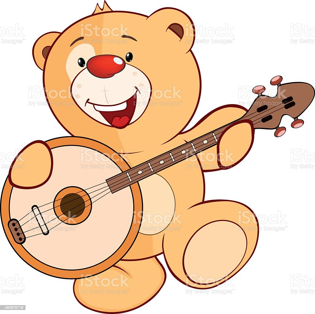 cute stuffed toy bear cub cartoon vector art illustration