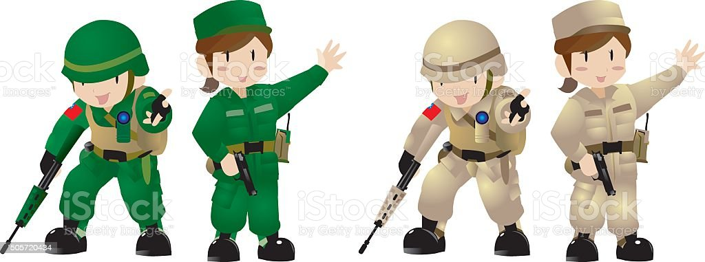 Cute style of Army soldiers vector art illustration