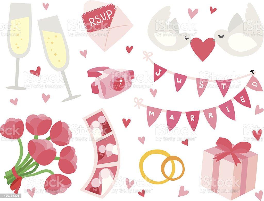 Cute & Stylish Wedding Items Set vector art illustration