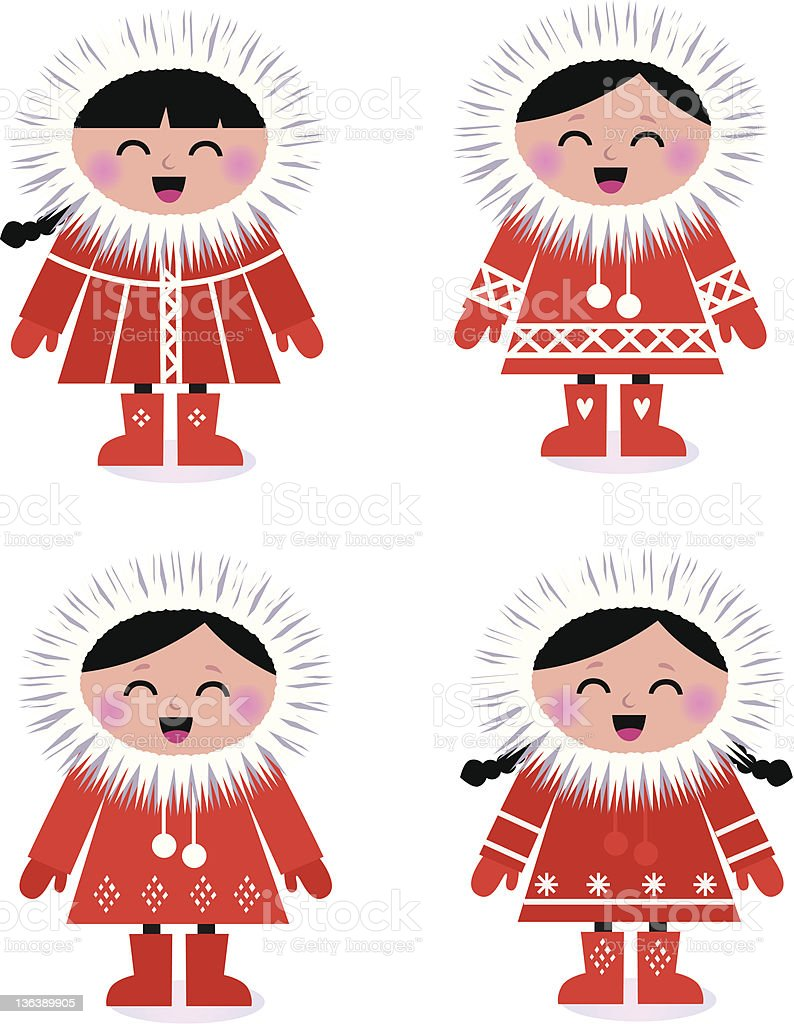 Cute stylized eskimo collection isolated on white vector art illustration