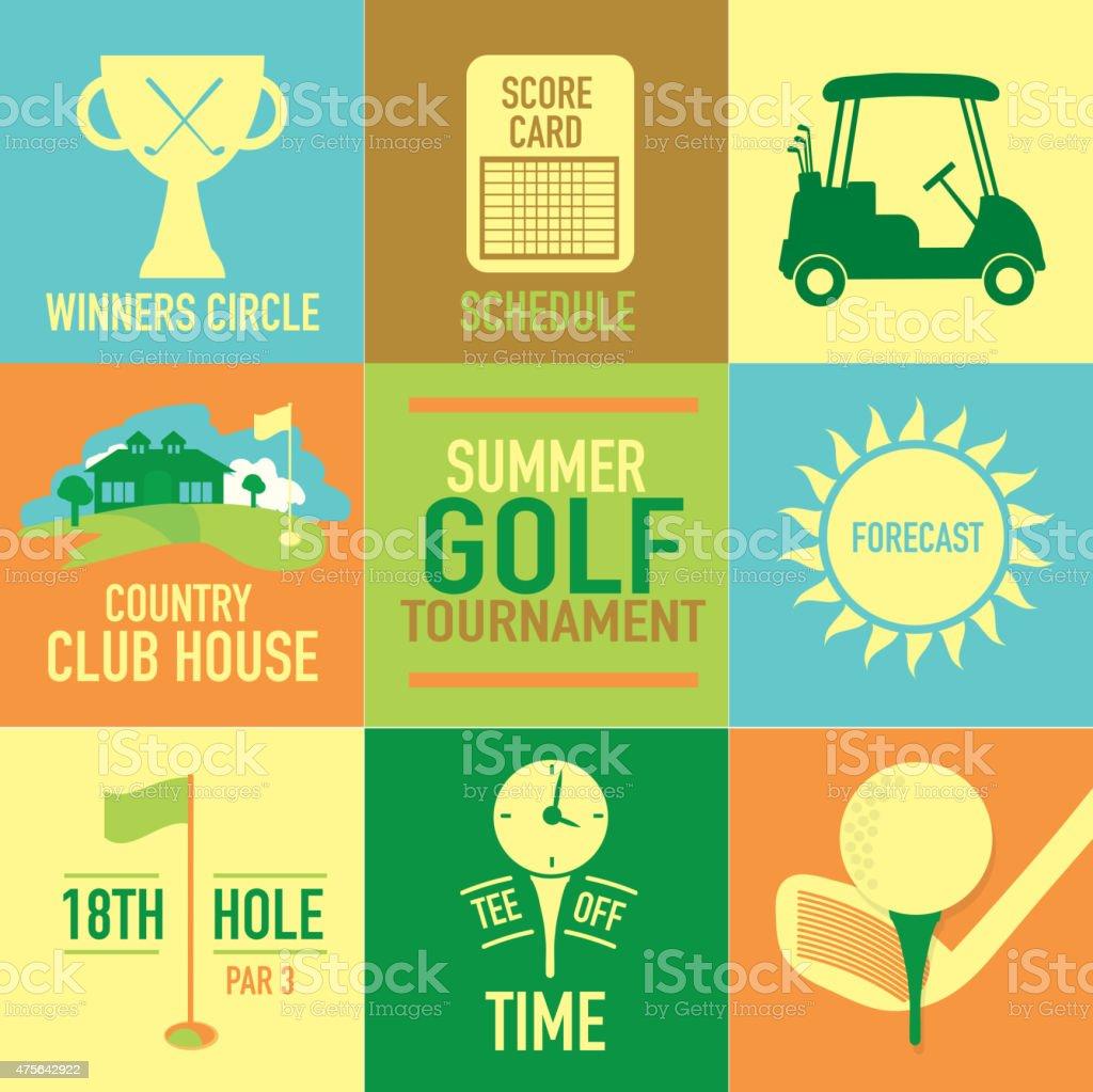 Cute Summer Golf tournament label set vector art illustration