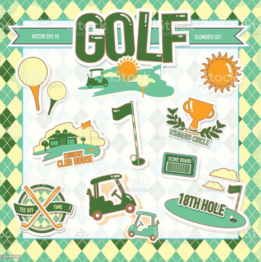 Cute Summer Golf tournament set of elements vector art illustration