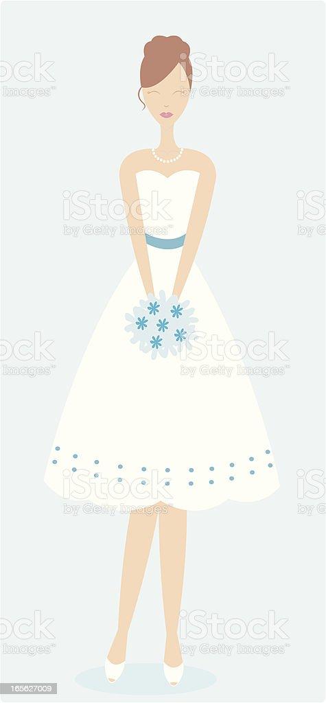 Cute summery bride or bridesmaid vector art illustration