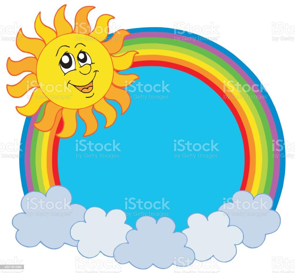Cute Sun and rainbow royalty-free stock vector art