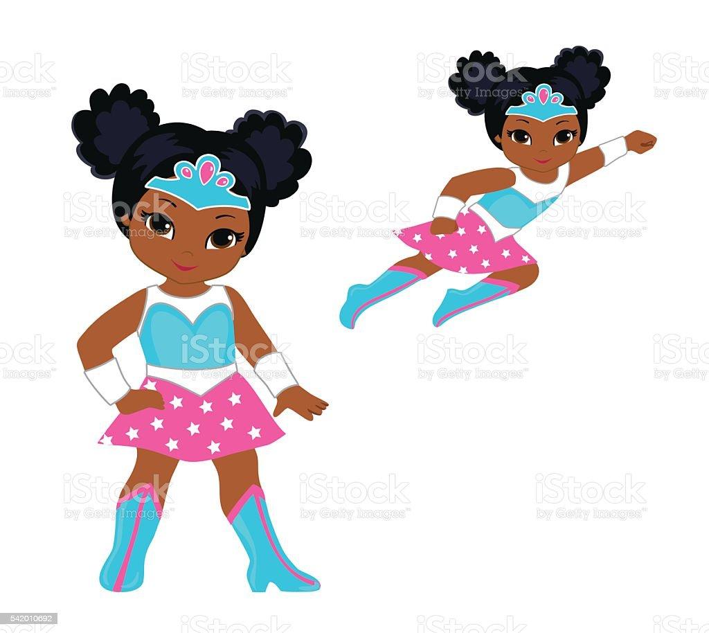 Cute superhero girl vector clip art set. vector art illustration