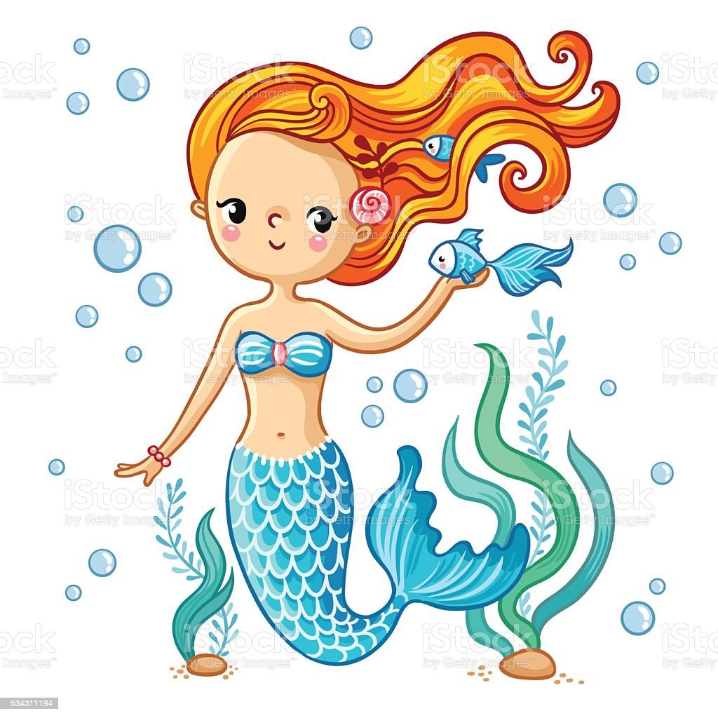 Cute swimming cartoon mermaid. vector art illustration