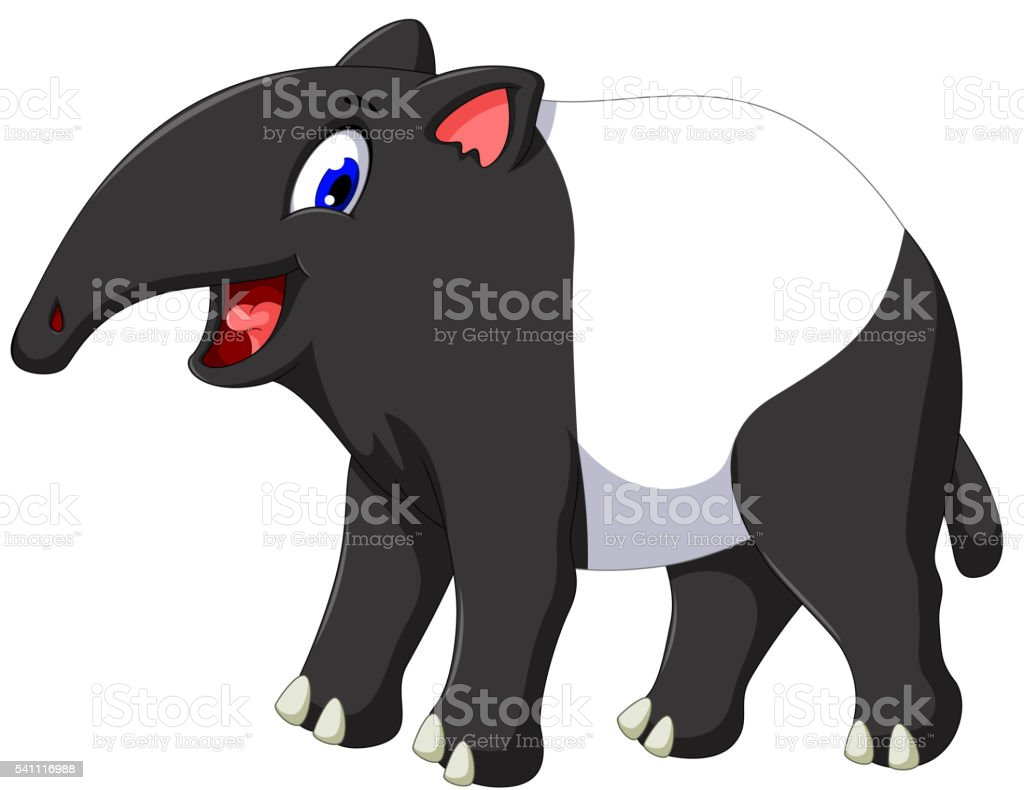 cute tapir cartoon posing vector art illustration