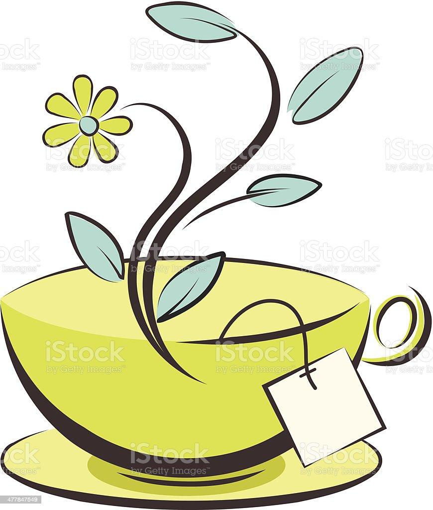 Cute Teacup With Flower vector art illustration