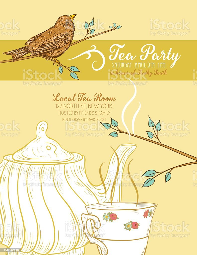 Cute Teapot and Cup Bridal Shower Invitation vector art illustration
