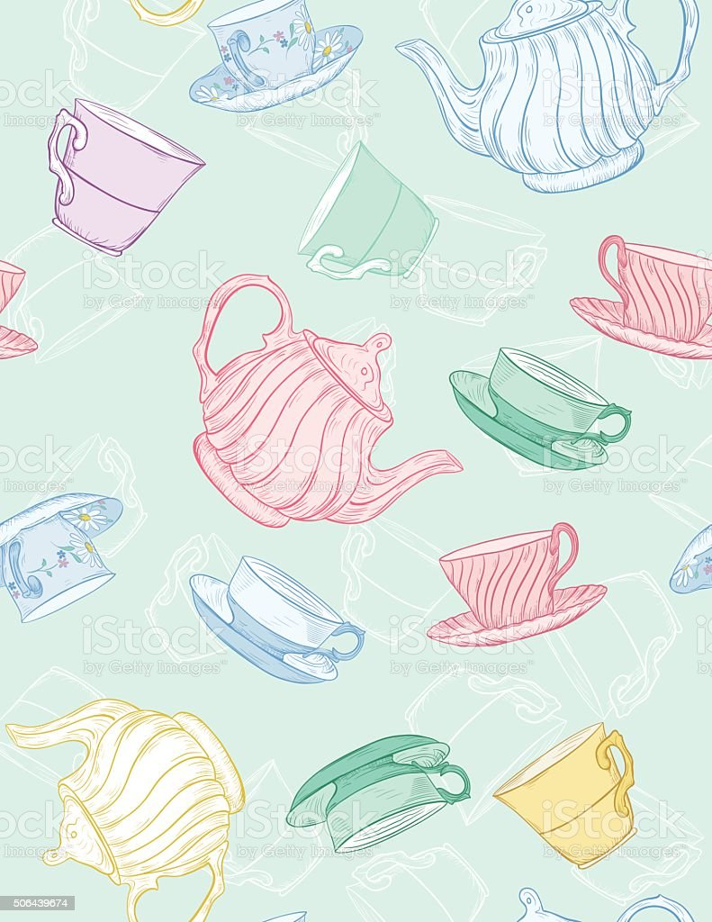 Cute Teapot and Cup Seamless Pattern vector art illustration