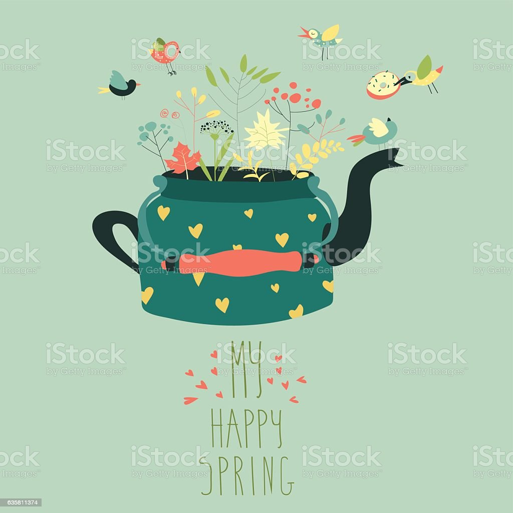 Cute teapot with spring herbs and birds vector art illustration