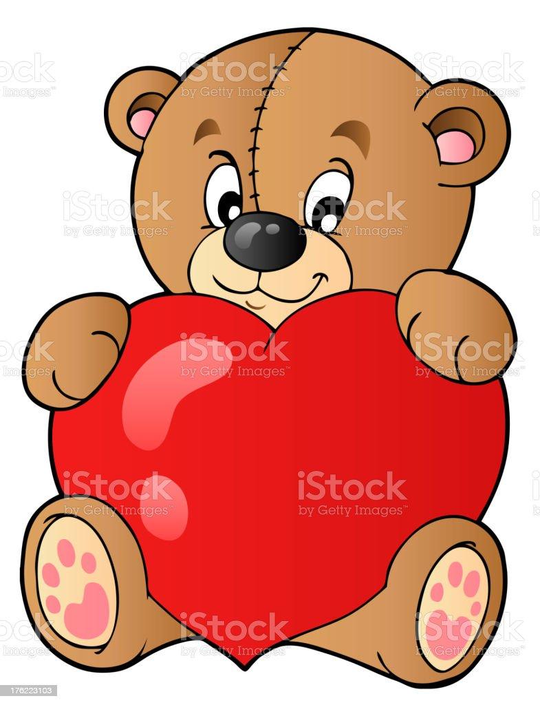 Cute teddy bear holding heart royalty-free stock vector art