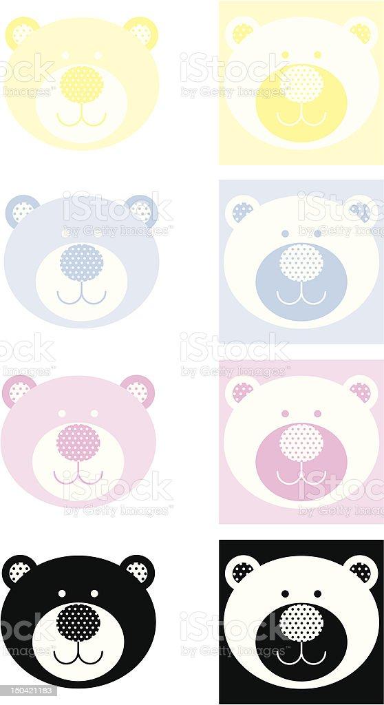 Cute Teddy Bear Icon with Polka Dots royalty-free stock vector art