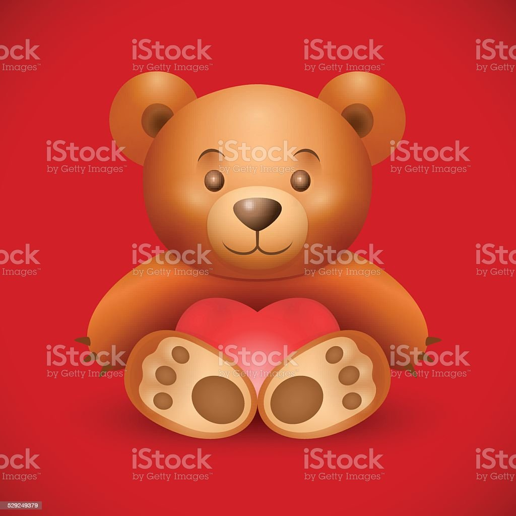 Cute teddy bear on dark red background. vector art illustration