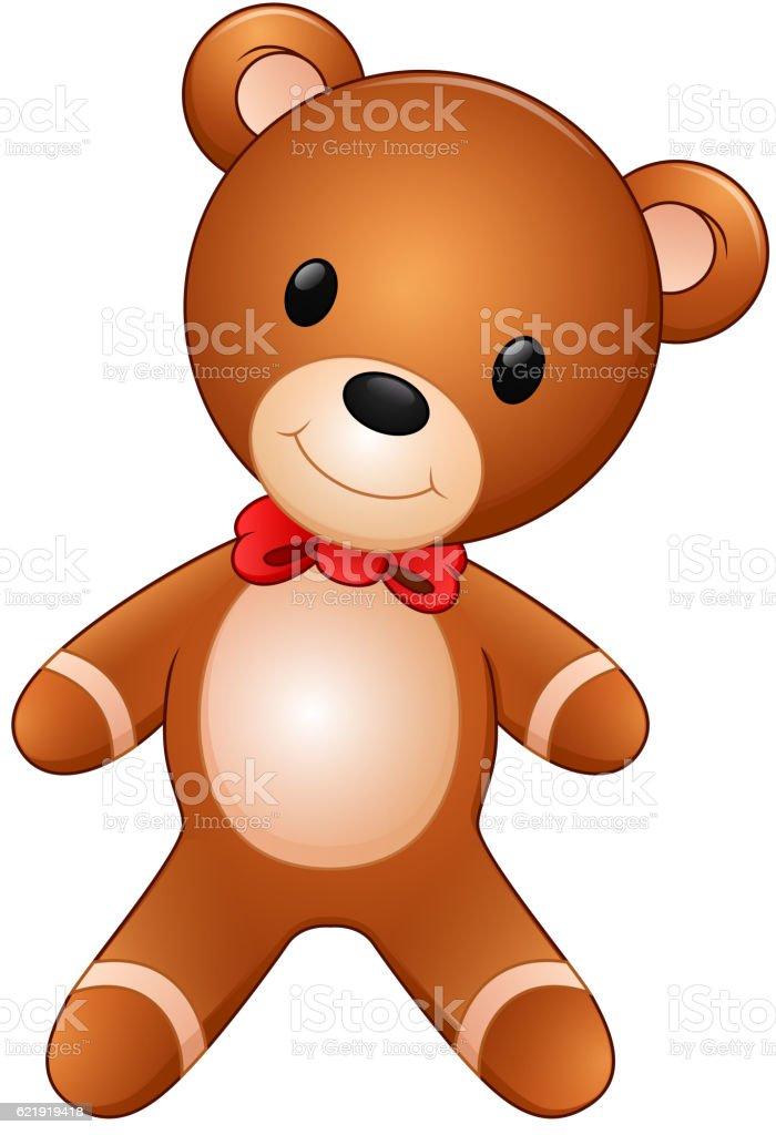 Cute teddy bear on the white background vector art illustration