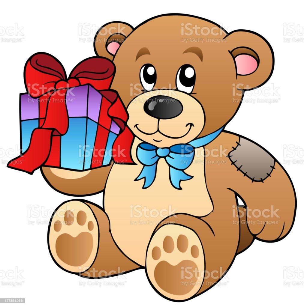 Cute teddy bear with gift royalty-free stock vector art