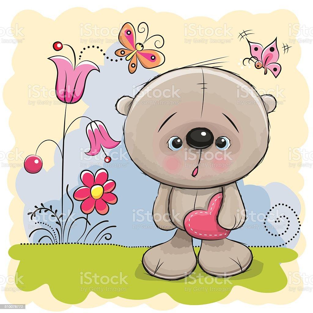 Cute Teddy With heart vector art illustration