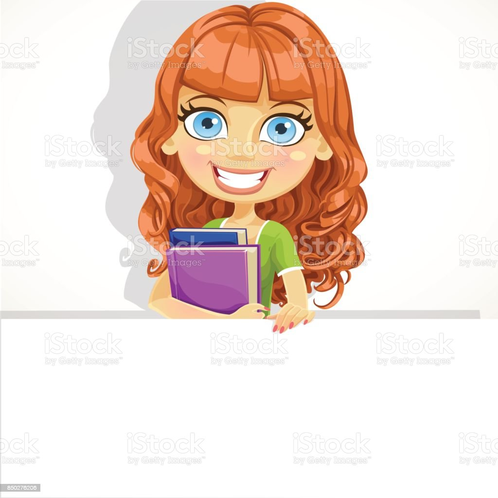 Cute teen girl with wavy hair hold a big banner vector art illustration