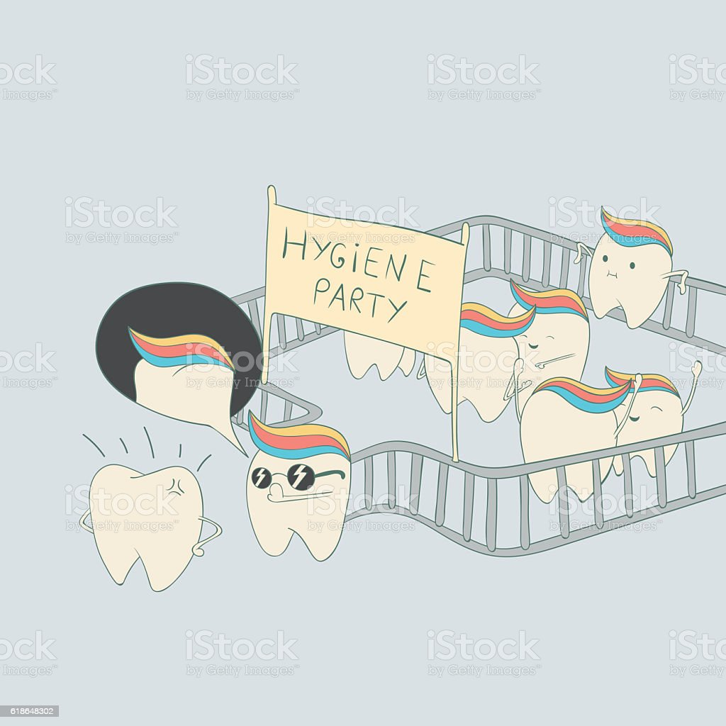 Cute teeth character on hygiene party vector art illustration