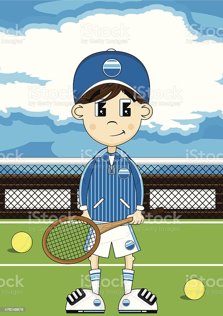 Cute Tennis Boy on Court royalty-free stock vector art