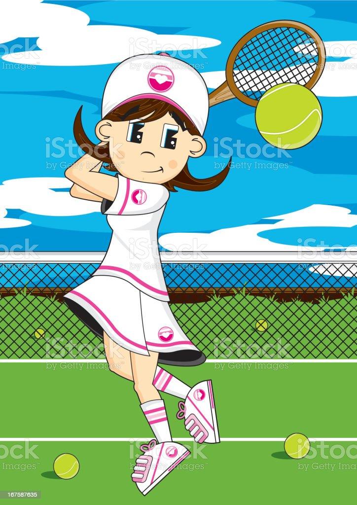 Cute Tennis Girl Hitting Ball on Court vector art illustration