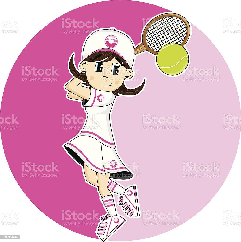 Cute Tennis Girl Hitting Ball vector art illustration