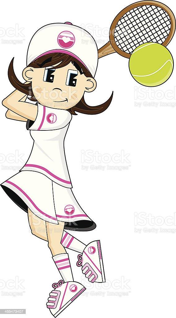 Cute Tennis Girl Hitting Ball royalty-free stock vector art