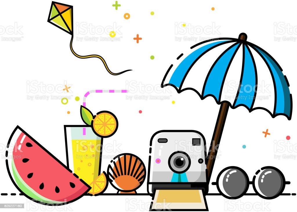 cute the beach flat icon set vector vector art illustration