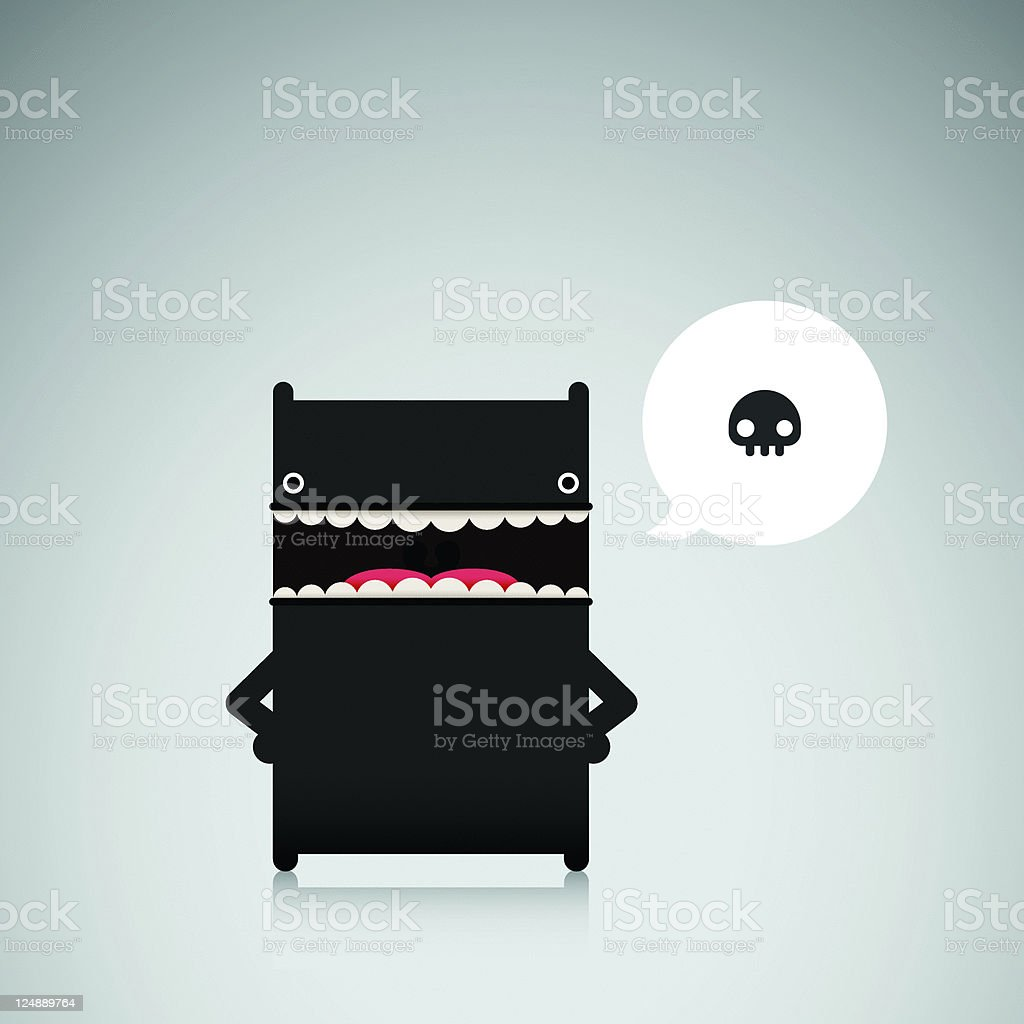 Cute Threatening Vector Character With Skull royalty-free stock vector art