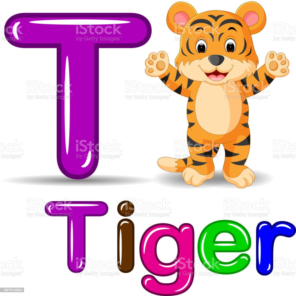 Cute tiger cartoon vector art illustration