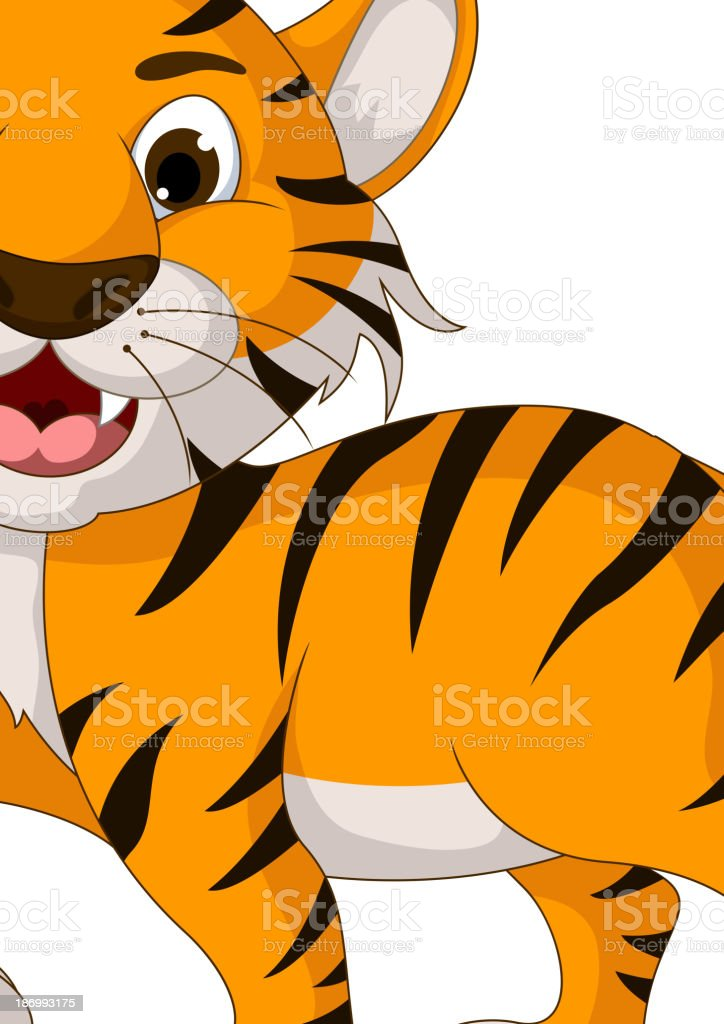 cute tiger cartoon walking royalty-free stock vector art