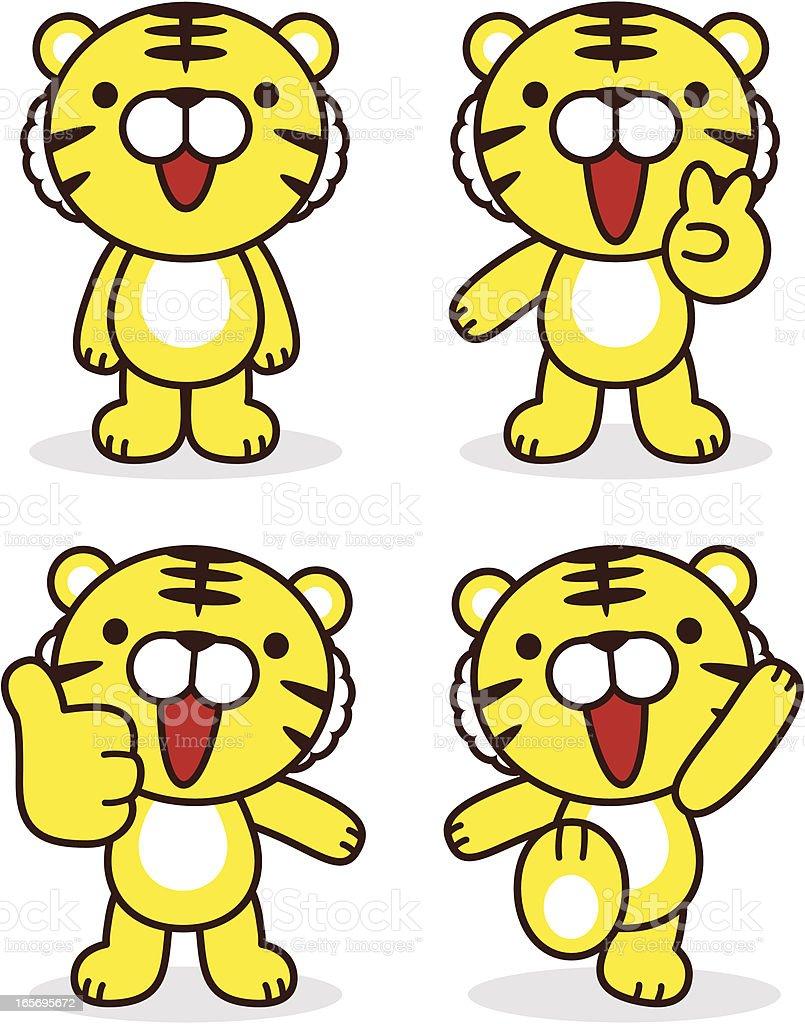 Cute Tigers ( Happy Tiger Year ) vector art illustration