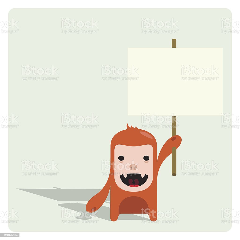 Cute Tiny Character Holding an Empty Sign royalty-free stock vector art