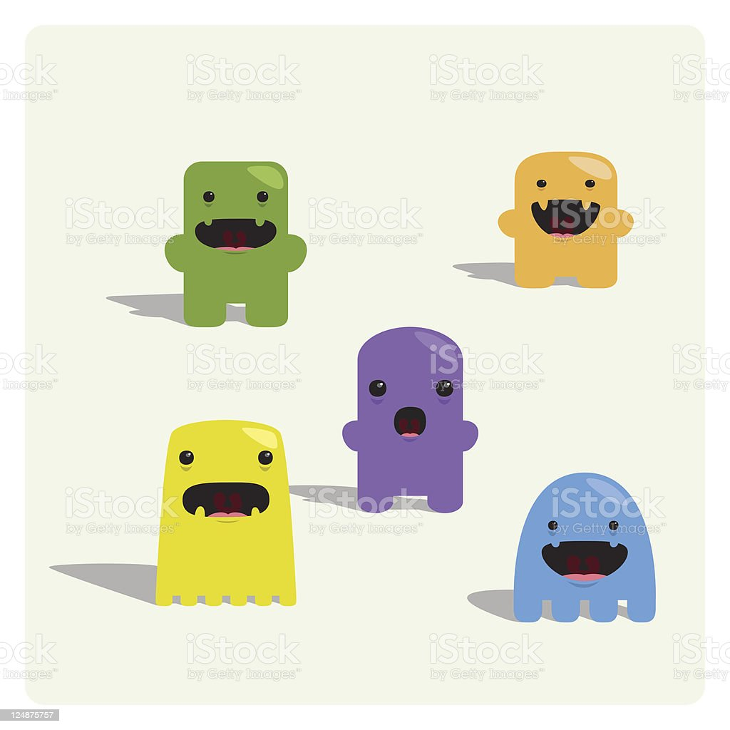 Cute Tiny Characters Expression Set royalty-free stock vector art