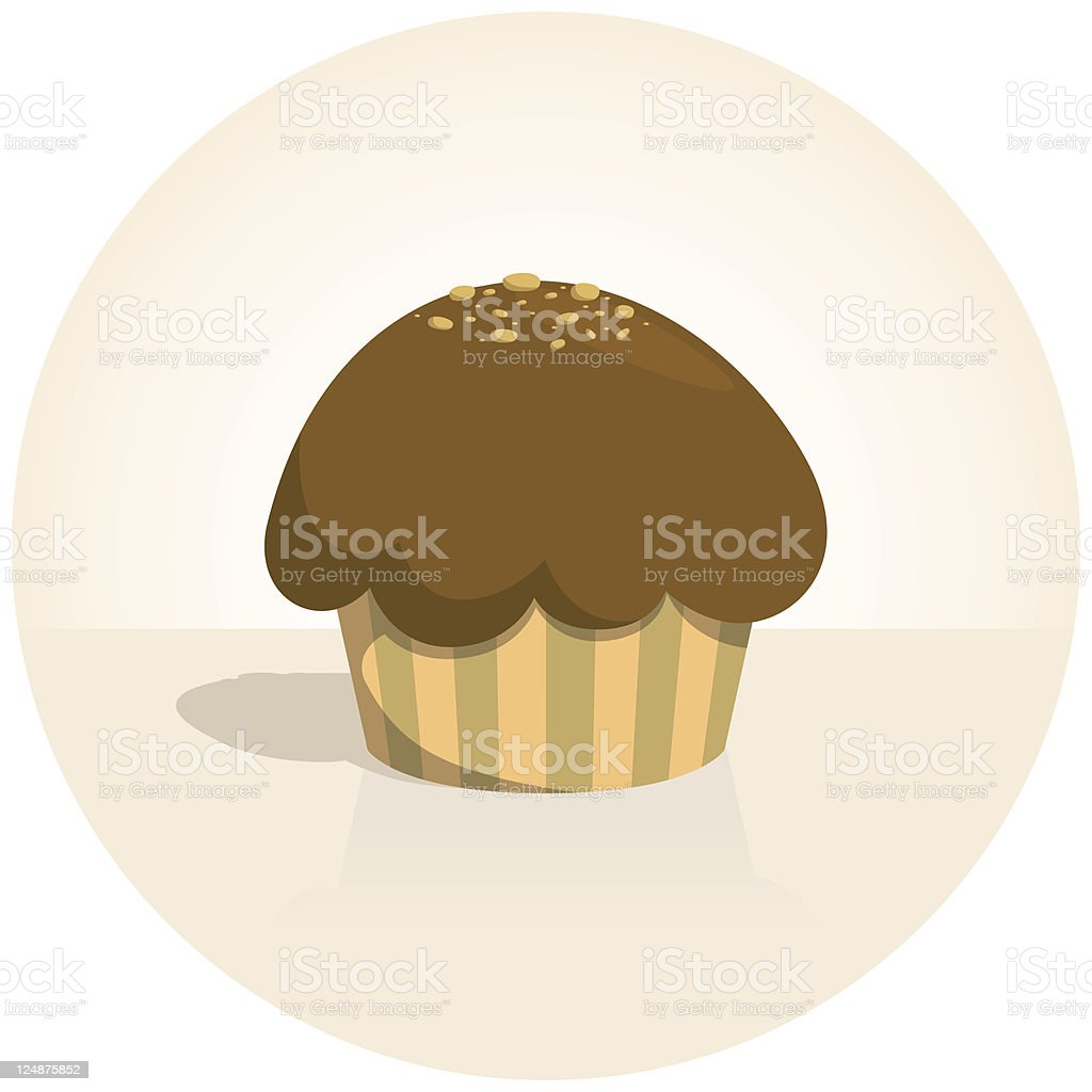 Cute Tiny Sweet Chocolate Cupcake royalty-free stock vector art