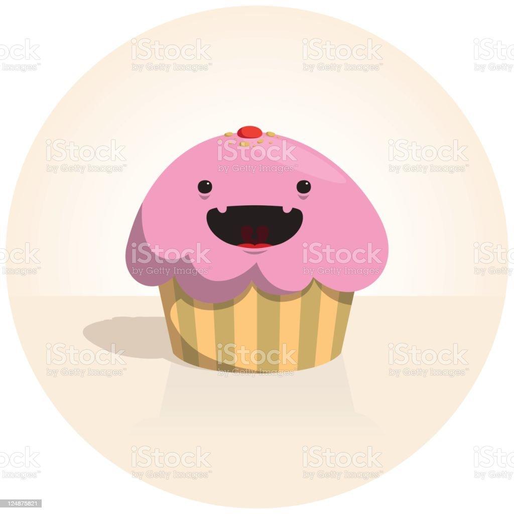 Cute Tiny Vector Cheerful Sweet Cupcake Character royalty-free stock vector art