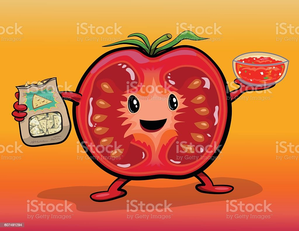 Cute Tomato Character With Pico de Gallo Salsa & Chips royalty-free stock vector art