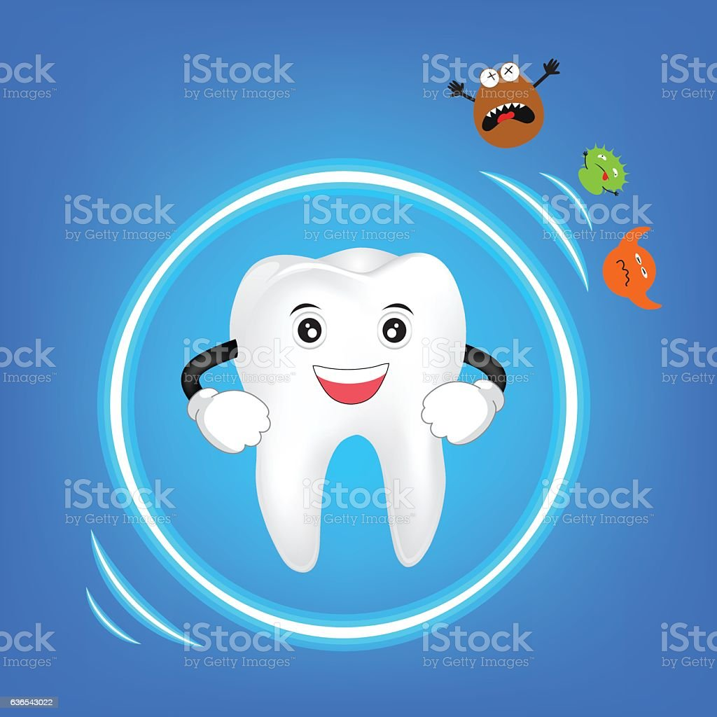 Cute tooth  character protected from bacteria vector art illustration