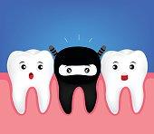 Cute tooth in  black costume.