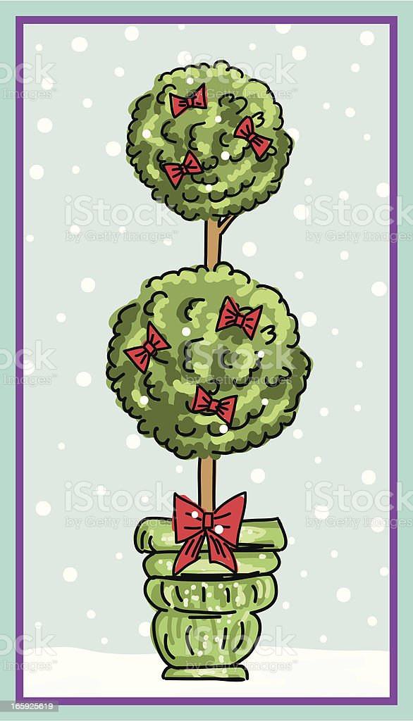 Cute Topiary Christmas Tree In The Snow vector art illustration