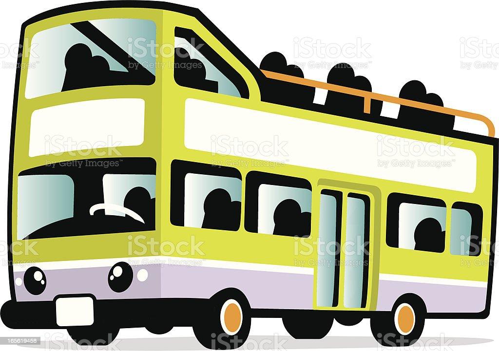 cute tour bus vector art illustration