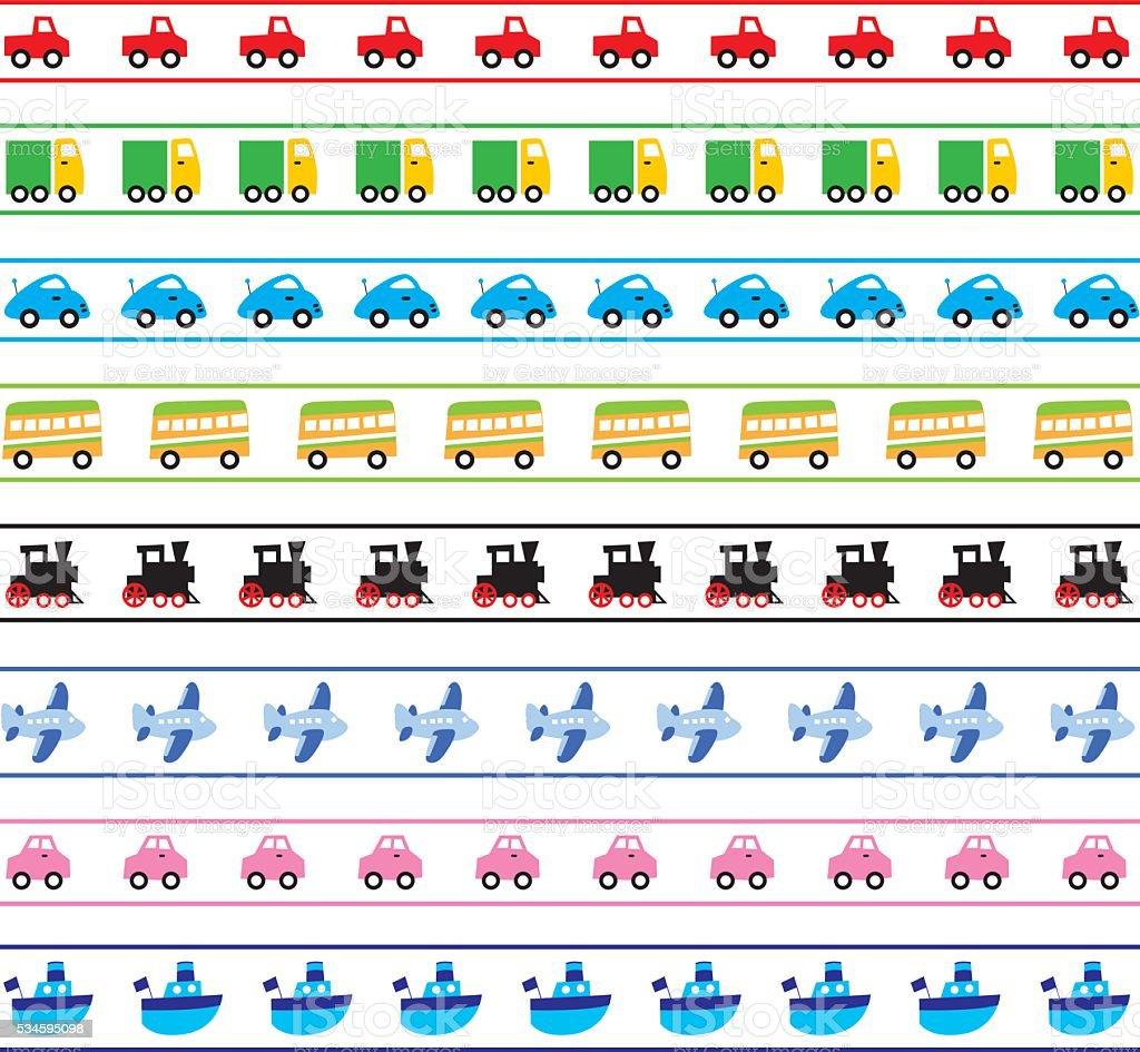 Cute Transportation Borders vector art illustration