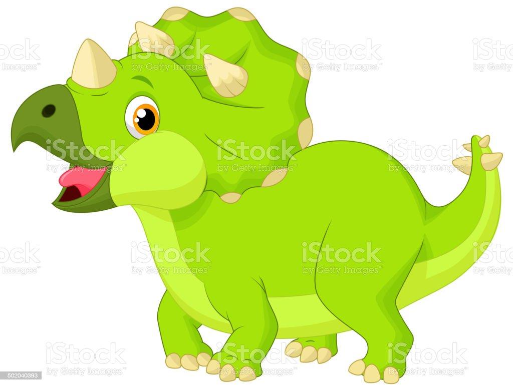 Cute triceratops cartoon royalty-free stock vector art
