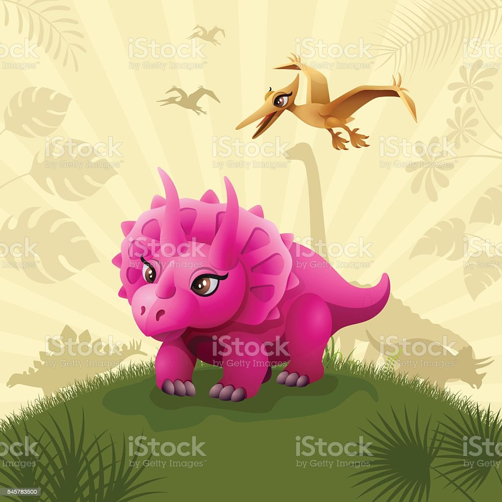Cute Triceratops Dinosaur vector art illustration