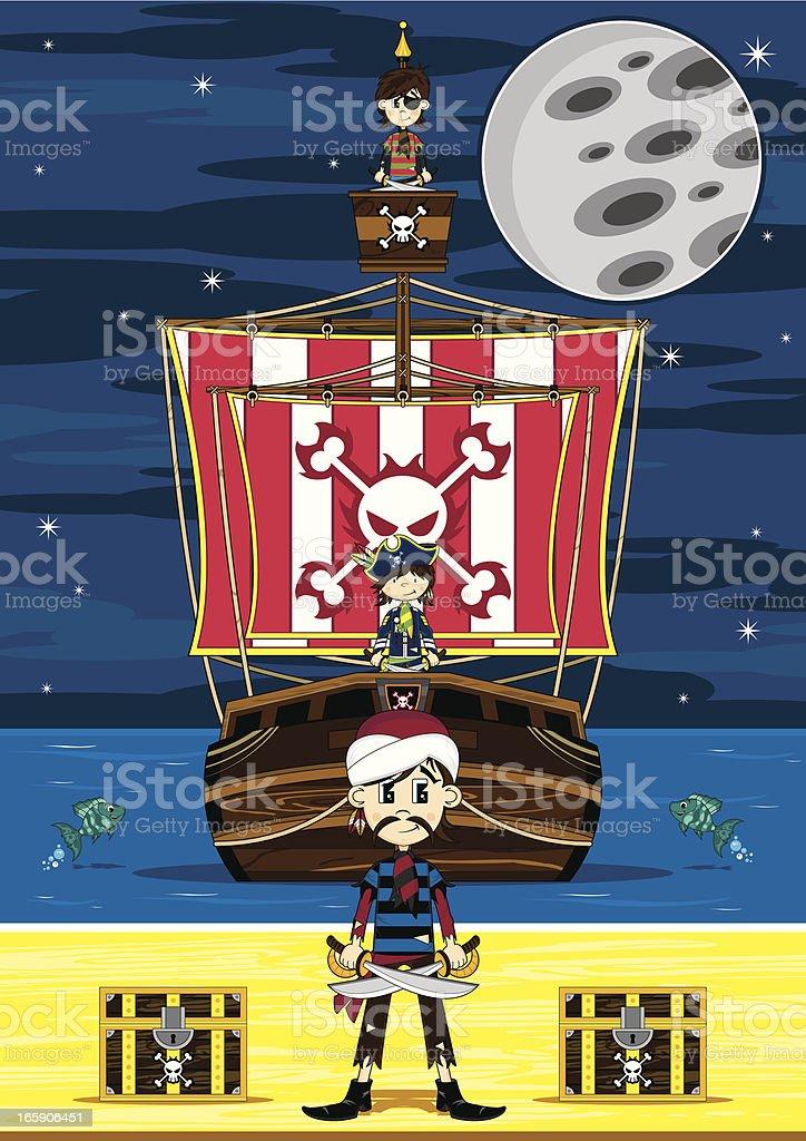 Cute Turban Pirate and Ship Beach Scene royalty-free stock vector art
