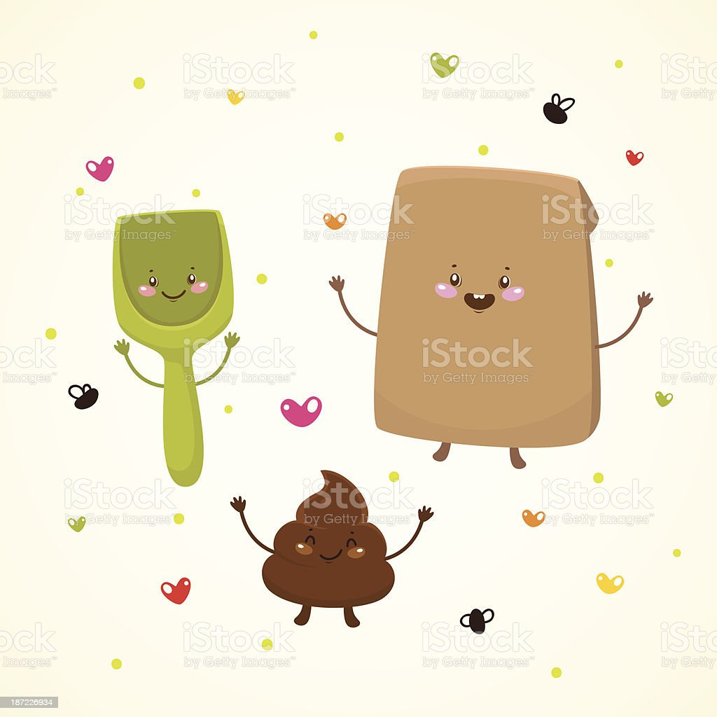 Cute turd and friends royalty-free stock vector art