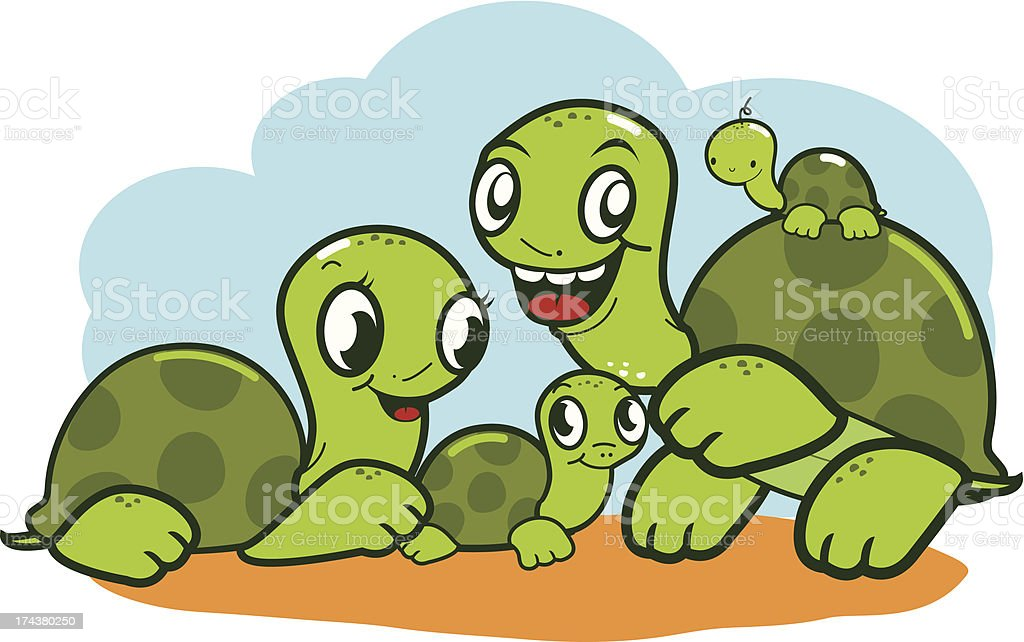 Cute turtle family royalty-free stock vector art